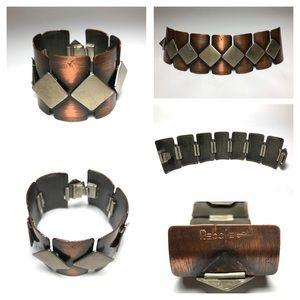 Mid Century Rebajes Copper Wide Geometric Bracelet